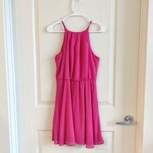 Blue Rain Pink Flowy Skater Dress | Small